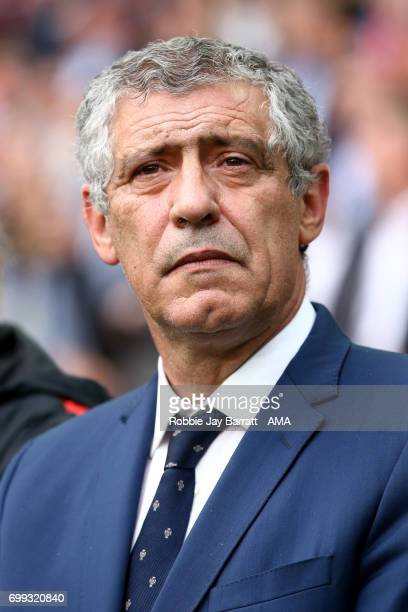 Manager/ Head Coach of Portugal Fernando Santos looks on during the FIFA Confederations Cup Russia 2017 Group A match between Russia and Portugal at...