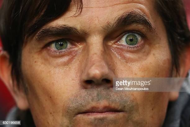 Manager / Head Coach Phillip Cocu looks on during the Eredivisie match between Ajax Amsterdam and PSV Eindhoven held at Amsterdam Arena on December...