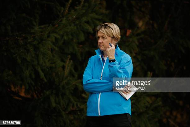 Manager Helen Hewett looks on during Curtis Cup practice at Quaker Ridge GC on November 22 2017 in Scarsdale New York