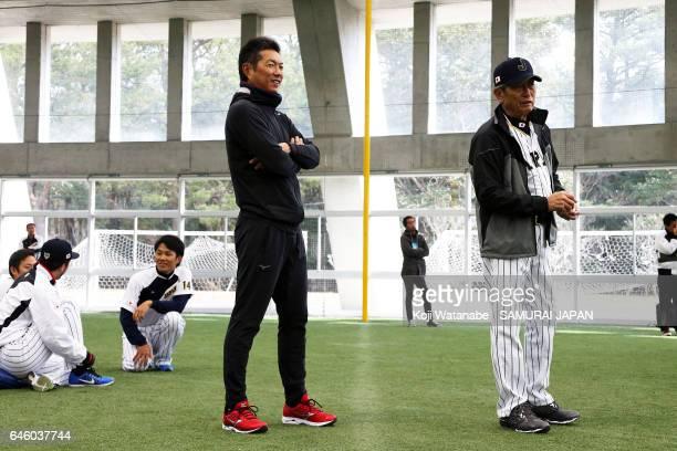 Manager Hiroki Kokubo and pitching coach Hiroshi Gondoh of Japan are seen during SAMURAI JAPAN's training camp at the Sun Marine Stadium Miyazaki on...