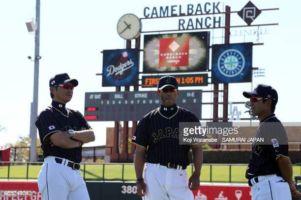 Manager Hiroki Kokubo of Japan looks on during the exhibition game between Japan and Los Angeles Dodgers at Camelback Ranch on March 19 2017 in...