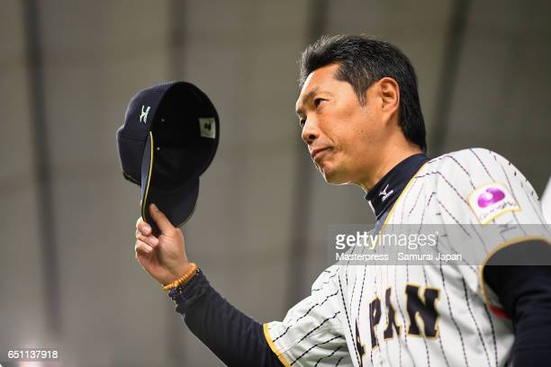 Manager Hiroki Kokubo of Japan applauds fans after the World Baseball Classic Pool B Game Six between China and Japan at Tokyo Dome on March 10 2017...