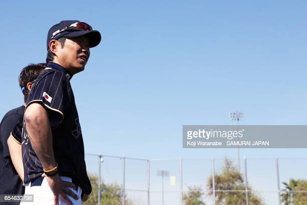 Manager Hiroki Kokubo of Japan in action during a workout ahead of the World Baseball Classic Championship Round at Camelback Ranch on March 17 2017...
