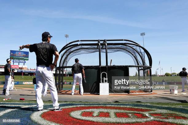 Manager Hiroki Kokubo of Japan in action during the exhibition game between Japan and Chicago Cubs at Sloan Park on March 18 2017 in Mesa Arizona