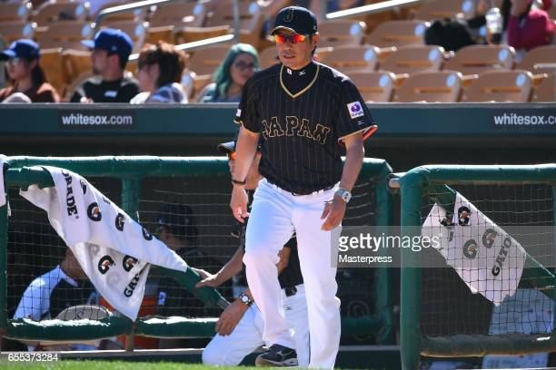Manager Hiroki Kokubo of Japan is seen during the exhibition game between Japan and Los Angeles Dodgers at Camelback Ranch on March 19 2017 in...