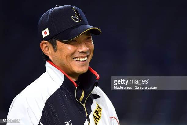 Manager Hiroki Kokubo of Japan is seen on the practice day during the World Baseball Classic at Tokyo Dome on March 11 2017 in Tokyo Japan