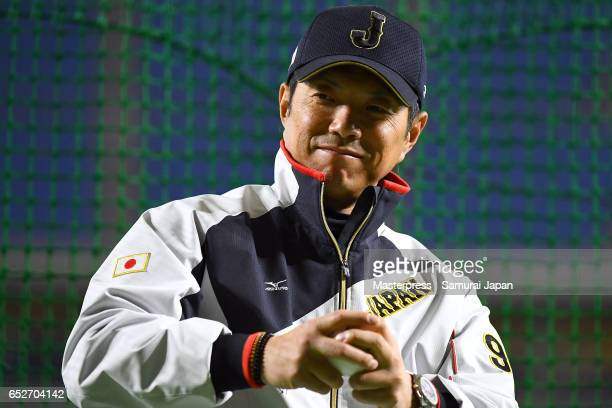 Manager Hiroki Kokubo of Japan is seen on the practice day during the World Baseball Classic at the Tokyo Dome on March 13 2017 in Tokyo Japan