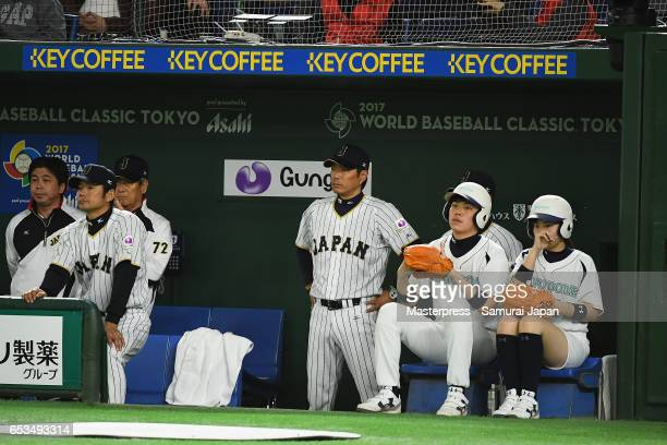Manager Hiroki Kokubo of Japan looks on in the top of the fourth inning during the World Baseball Classic Pool E Game Six between Israel and Japan at...
