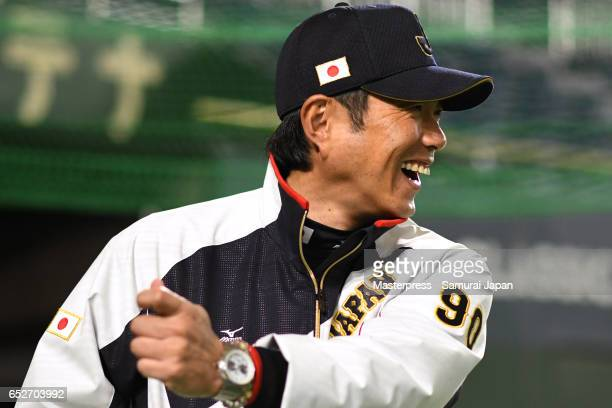 Manager Hiroki Kokubo of Japan smiles on the practice day during the World Baseball Classic at the Tokyo Dome on March 13 2017 in Tokyo Japan