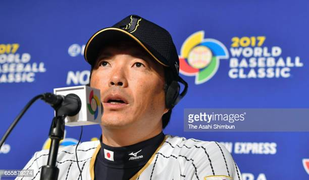 Manager Hiroki Kokubo of Japan speaks during a press conference ahead of the World Baseball Classic Championship Round at Dodger Stadium on March 20...