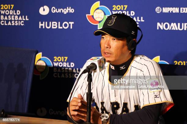 Manager Hiroki Kokubo of Japan spekes on of Japan speaks during a training session ahead of the World Baseball Classic Championship Round at Dodger...
