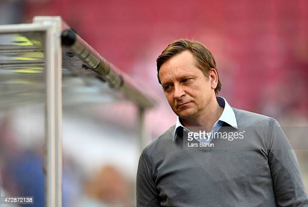 Manager Horst Held of Schalke looks on prior to the Bundesliga match between 1 FC Koeln and FC Schalke 04 at RheinEnergieStadion on May 10 2015 in...