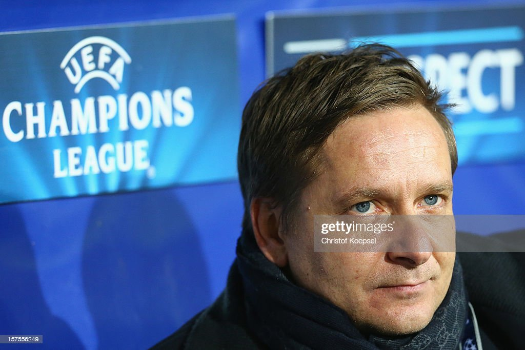 Manager Horst Heldt of Schalke looks on prior to the UEFA Champions League group B match between Montpellier Herault SC and FC Schalke 04 at Stade de la Mosson on December 4, 2012 in Montpellier, France.