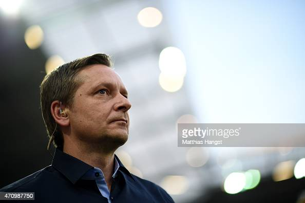Manager Horst Heldt seen prior to the Bundesliga match between 1 FSV Mainz 05 nd FC Schalke 04 at Coface Arena on April 24 2015 in Mainz Germany