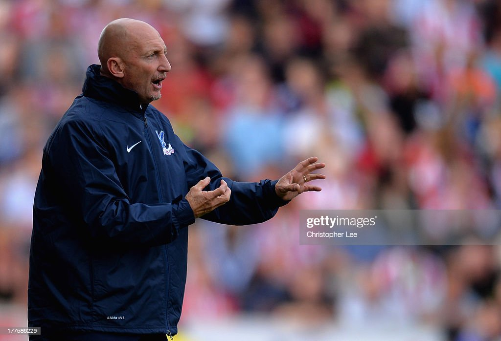 Manager Ian Holloway of Crystal Palace shouts orders to his players during the Barclays Premier League match between Stoke City and Crystal Palace at Britannia Stadium on August 24, 2013 in Stoke on Trent, England.