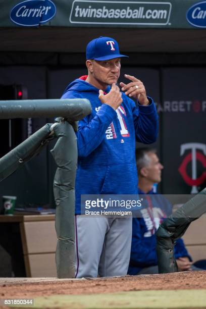 Manager Jeff Banister of the Texas Rangers looks on against the Minnesota Twins on August 5 2017 at Target Field in Minneapolis Minnesota The Rangers...