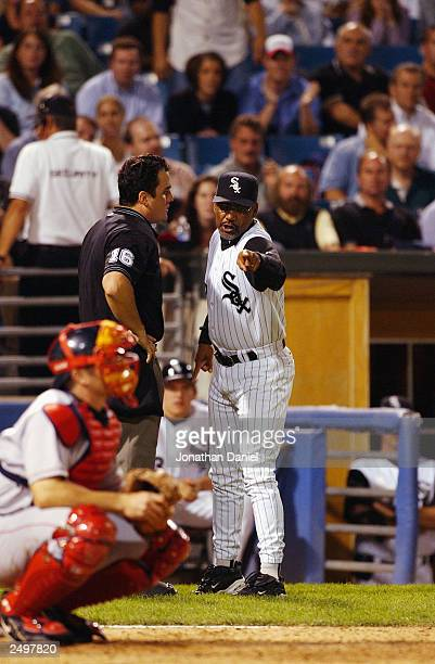 Manager Jerry Manuel of the Chicago White Sox argues a strike call with home plate umpire Mike DiMuro and gets tossed out of the game during a game...