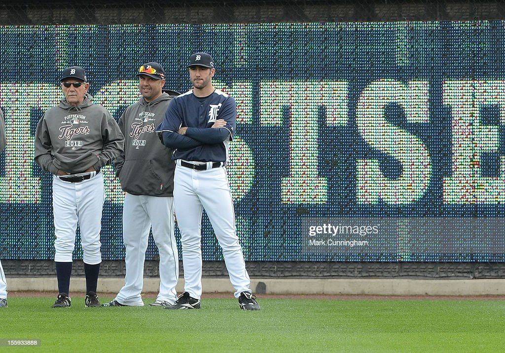 Manager Jim Leyland #10, Gerald Laird #9 and Justin Verlander #35 (L-R) of the Detroit Tigers look on during warm ups prior to Game Four of the American League Championship Series against the New York Yankees at Comerica Park on October 18, 2012 in Detroit, Michigan. The Tigers defeated the Yankees 8-1 and now advance to the World Series.