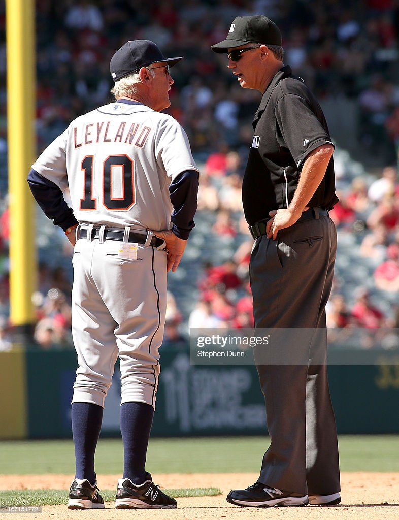 Manager Jim Leyland of the Detroit Tigers argues with second base umpire Gary Darling after Omar Infante of the Tigers was called out at second on a sacrifice bunt attempt in the ninth inning against the Los Angeles Angels of Anaheim at Angel Stadium of Anaheim on April 21, 2013 in Anaheim, California.