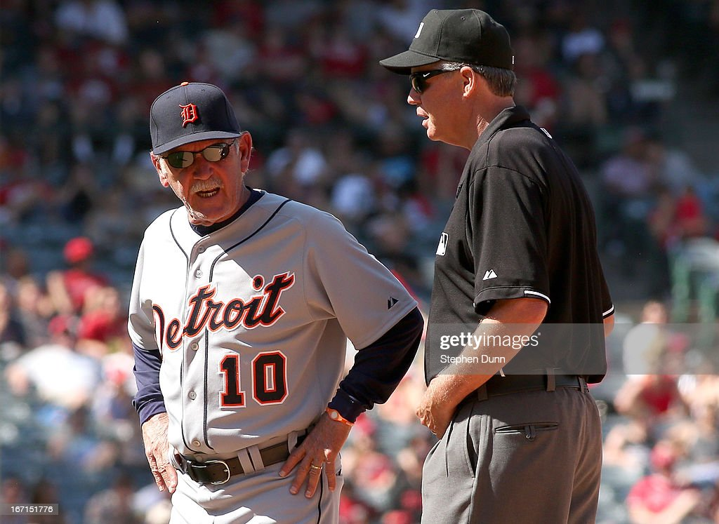 Manager <a gi-track='captionPersonalityLinkClicked' href=/galleries/search?phrase=Jim+Leyland&family=editorial&specificpeople=239038 ng-click='$event.stopPropagation()'>Jim Leyland</a> of the Detroit Tigers argues with second base umpire Gary Darling after Omar Infante of the Tigers was called out at second on a sacrifice bunt attempt in the ninth inning against the Los Angeles Angels of Anaheim at Angel Stadium of Anaheim on April 21, 2013 in Anaheim, California.