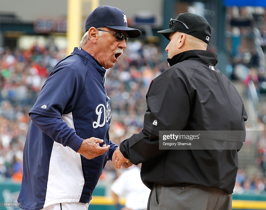 Manager <a gi-track='captionPersonalityLinkClicked' href=/galleries/search?phrase=Jim+Leyland&family=editorial&specificpeople=239038 ng-click='$event.stopPropagation()'>Jim Leyland</a> of the Detroit Tigers argues with second base umpire <a gi-track='captionPersonalityLinkClicked' href=/galleries/search?phrase=Eric+Cooper&family=editorial&specificpeople=239458 ng-click='$event.stopPropagation()'>Eric Cooper</a> after Miguel Cabrera #24 was ejected from the game in the third inning while playing the Philadelphia Phillies at Comerica Park on July 28, 2013 in Detroit, Michigan. Leyland was also ejected.