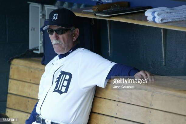 Manager Jim Leyland of the Detroit Tigers looks on before the game against the Chicago White Sox at Comerica Park in Detroit Michigan on April 13...