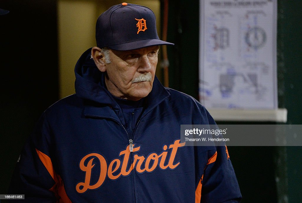 Manager <a gi-track='captionPersonalityLinkClicked' href=/galleries/search?phrase=Jim+Leyland&family=editorial&specificpeople=239038 ng-click='$event.stopPropagation()'>Jim Leyland</a> #10 of the Detroit Tigers looks on from the dugout against the Oakland Athletics in the bottom of the six inning at O.co Coliseum on April 12, 2013 in Oakland, California.