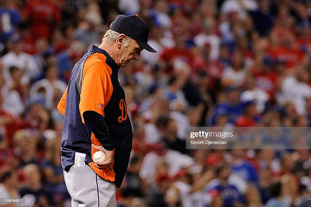 Manager Jim Leyland #10 of the Detroit Tigers reacts during a pitcher change in the third inning of Game Six of the American League Championship Series at Rangers Ballpark in Arlington on October 15, 2011 in Arlington, Texas.
