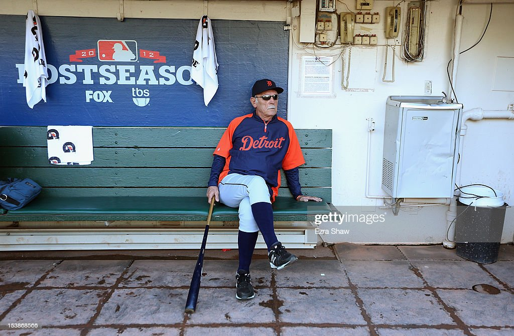 Manager <a gi-track='captionPersonalityLinkClicked' href=/galleries/search?phrase=Jim+Leyland&family=editorial&specificpeople=239038 ng-click='$event.stopPropagation()'>Jim Leyland</a> #10 of the Detroit Tigers sits in the dugout before their game against the Oakland Athletics during Game Three of the American League Division Series at Oakland-Alameda County Coliseum on October 9, 2012 in Oakland, California.