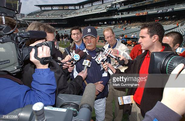 Manager Jim Leyland of the Detroit Tigers speaks to reporters prior to the game against the Chicago White Sox at Comerica Park in Detroit Michigan on...