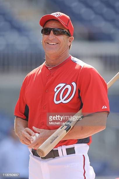 Manager Jim Riggleman of the Washington Nationals looks on before a baseball game against the New York Mets on April 26 2011 at Nationals Park in...