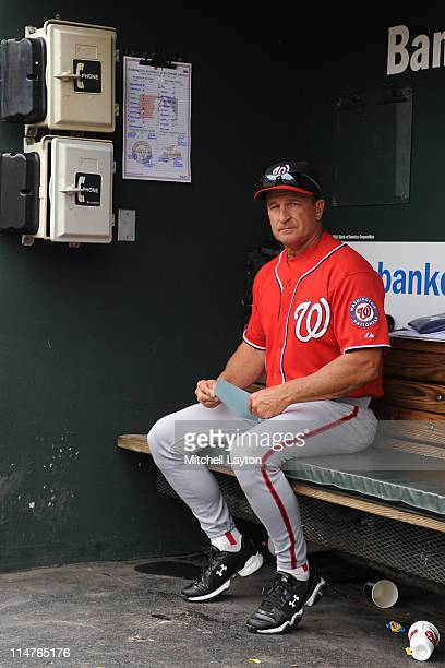 Manager Jim Riggleman of the Washington Nationals looks on during a baseball game against the Baltimore Orioles on May 22 2011 at Orioles Park at...