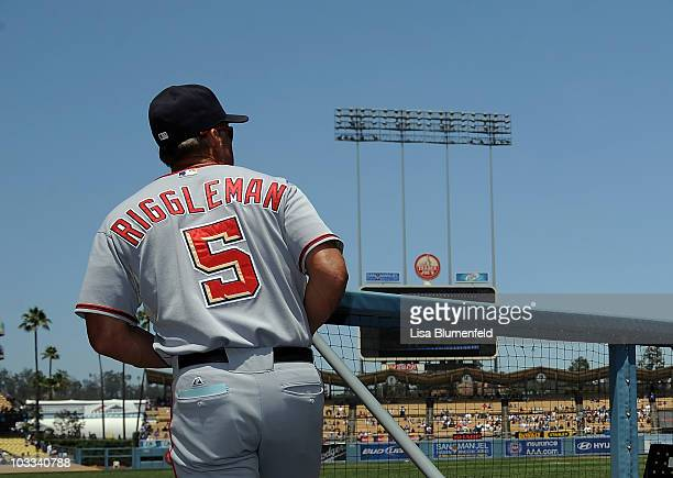 Manager Jim Riggleman of the Washington Nationals looks on from the dugout before the game against the Los Angeles Dodgers at Dodger Stadium on...