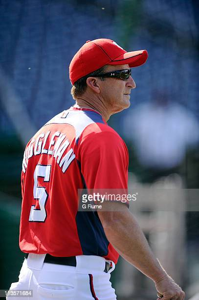 Manager Jim Riggleman of the Washington Nationals watches batting practice before the game against the New York Mets at Nationals Park on April 26...