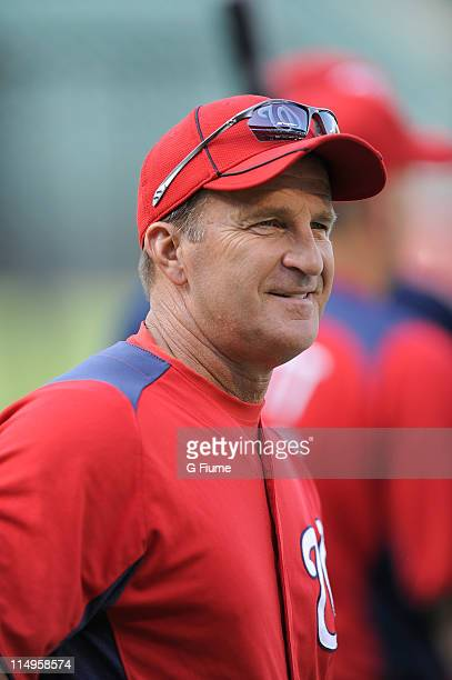 Manager Jim Riggleman of the Washington Nationals watches batting practice before the game against the Baltimore Orioles at Oriole Park at Camden...