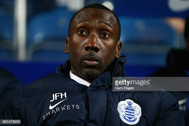 QPR manager Jimmy Floyd Hasselbaink looks on before kick off during the Sky Bet Championship match between Queens Park Rangers and Brighton and Hove...