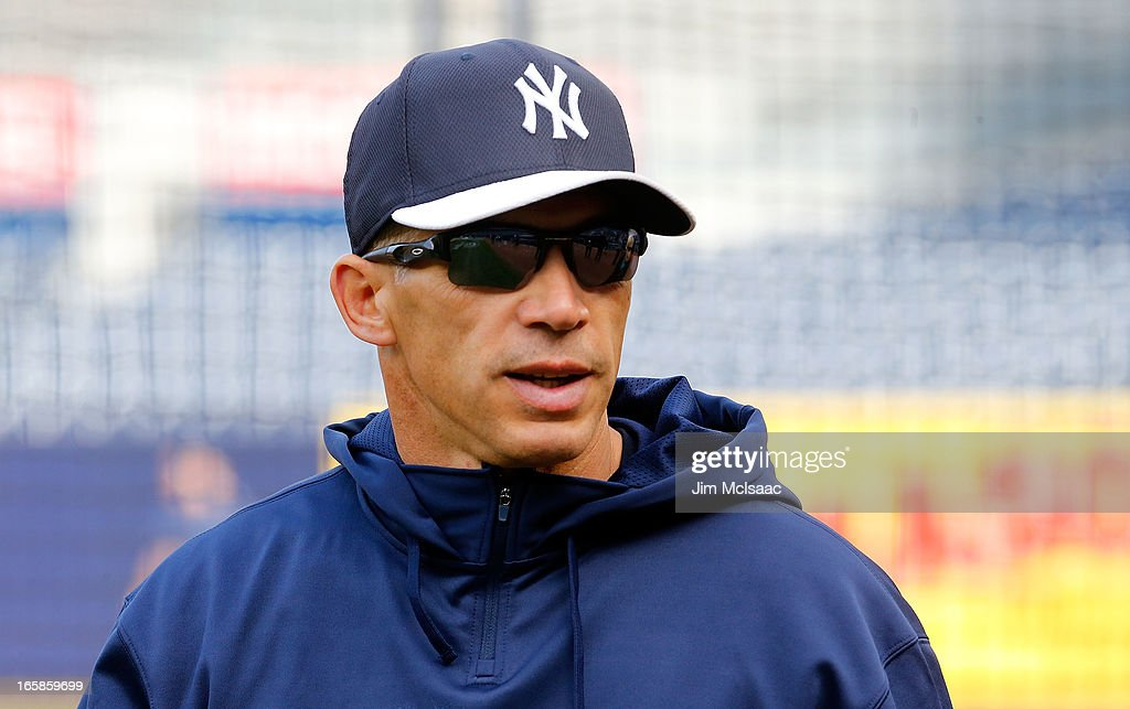 Manager Joe Girardi #28 of the New York Yankees during batting practice before a game against the Boston Red Sox at Yankee Stadium on April 4, 2013 in the Bronx borough of New York City. The Yankees defeated the Red Sox 4-2.