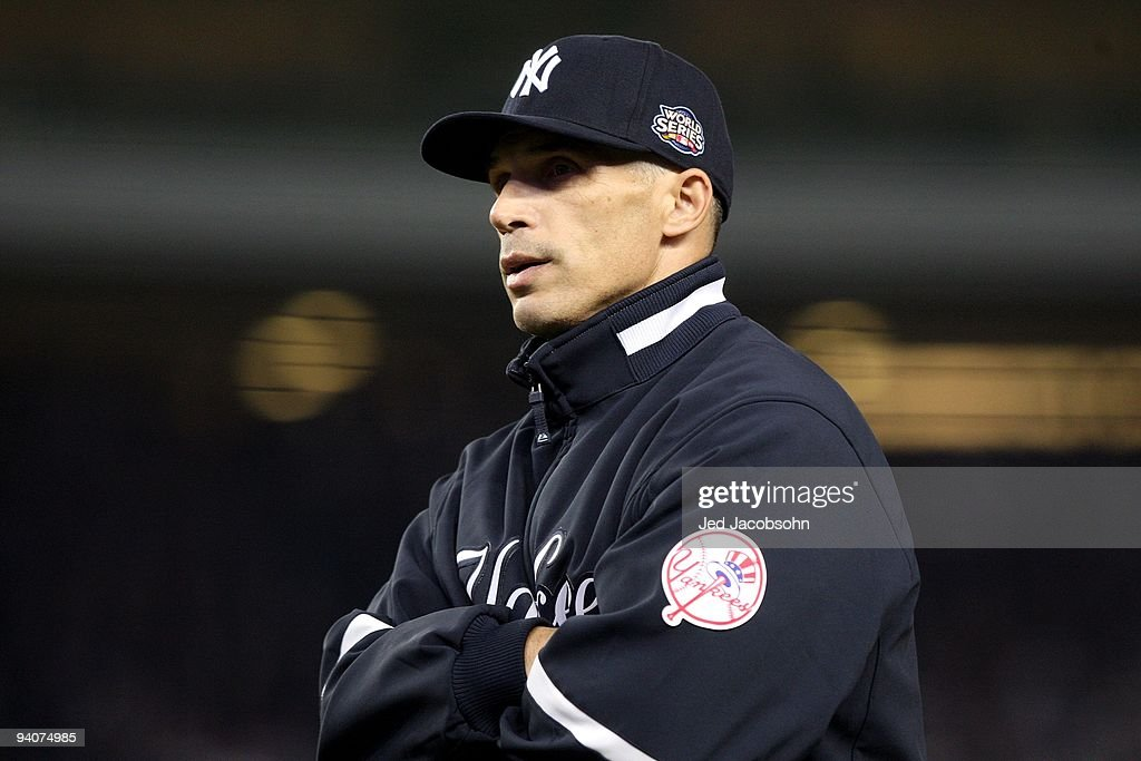 Manager Joe Girardi #27 of the New York Yankees looks on against the Philadelphia Phillies in Game Two of the 2009 MLB World Series at Yankee Stadium on October 29, 2009 in the Bronx borough of New York City. The Yankees won 3-1.
