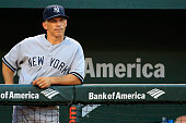 Manager Joe Girardi of the New York Yankees looks on during the third inning against the Baltimore Orioles at Oriole Park at Camden Yards on July 11...