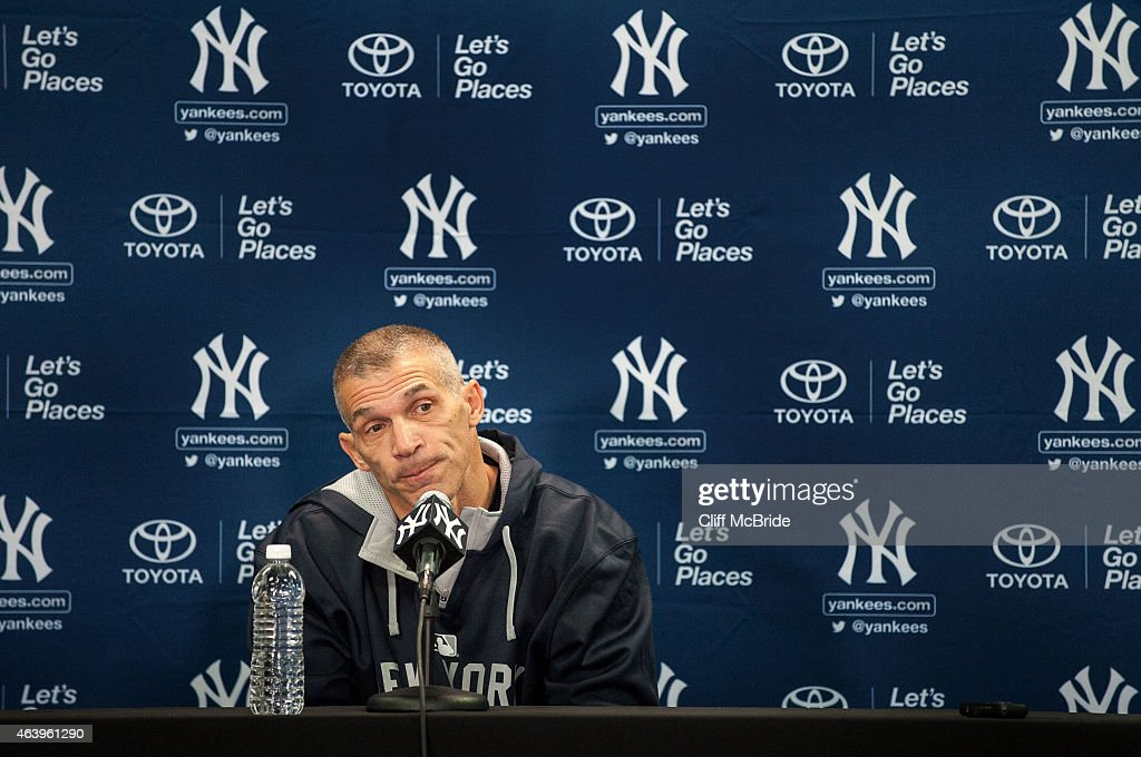 Manager <a gi-track='captionPersonalityLinkClicked' href=/galleries/search?phrase=Joe+Girardi&family=editorial&specificpeople=208659 ng-click='$event.stopPropagation()'>Joe Girardi</a> of the New York Yankees talks with the media during spring training media availability at George M. Steinbrenner Field on February 20, 2015 in Tampa, Florida.