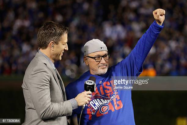 Manager Joe Maddon of the Chicago Cubs celebrates after defeating the Los Angeles Dodgers 50 in game six of the National League Championship Series...