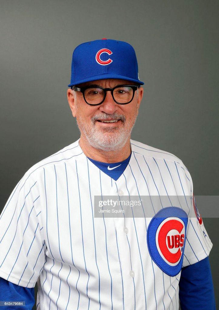 Manager Joe Maddon #70 of the Chicago Cubs poses during Chicago Cubs Photo Day on February 21, 2017 in Mesa, Arizona.