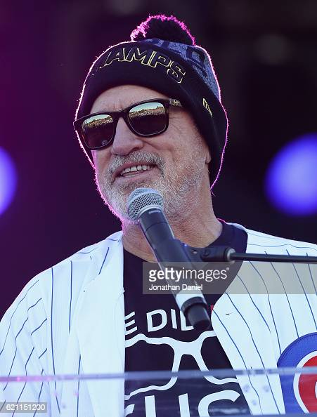 Manager Joe Maddon of the Chicago Cubs speakds to the crowd during the Chicago Cubs victory celebration in Grant Park on November 4 2016 in Chicago...