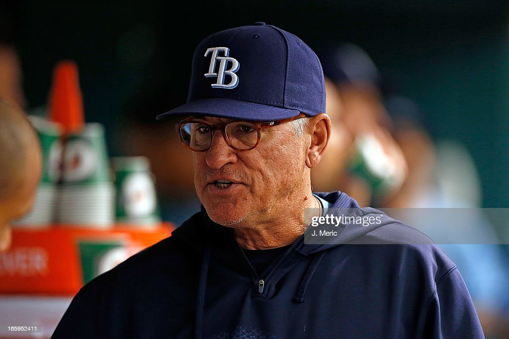 Manager Joe Maddon #70 of the Tampa Bay Rays directs his team against the Cleveland Indians during the game at Tropicana Field on April 7, 2013 in St. Petersburg, Florida.