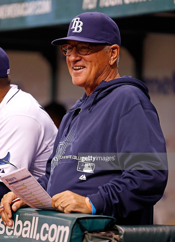 Manager <a gi-track='captionPersonalityLinkClicked' href=/galleries/search?phrase=Joe+Maddon&family=editorial&specificpeople=568433 ng-click='$event.stopPropagation()'>Joe Maddon</a> #70 of the Tampa Bay Rays smiles during the game against the Cleveland Indians at Tropicana Field on April 5, 2013 in St. Petersburg, Florida.