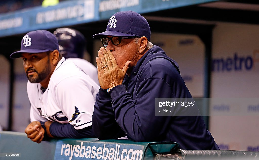 Manager <a gi-track='captionPersonalityLinkClicked' href=/galleries/search?phrase=Joe+Maddon&family=editorial&specificpeople=568433 ng-click='$event.stopPropagation()'>Joe Maddon</a> #70 of the Tampa Bay Rays watches the ninth inning against the New York Yankees at Tropicana Field on April 22, 2013 in St. Petersburg, Florida.