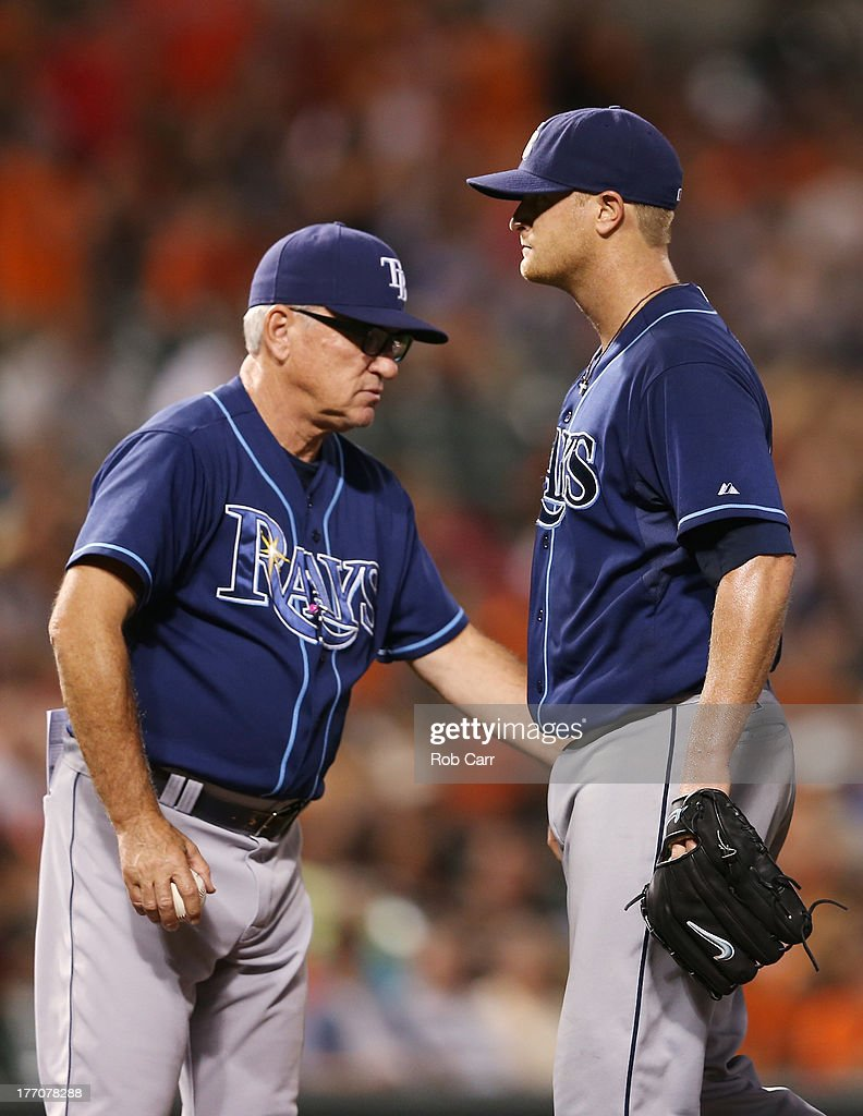 Manager <a gi-track='captionPersonalityLinkClicked' href=/galleries/search?phrase=Joe+Maddon&family=editorial&specificpeople=568433 ng-click='$event.stopPropagation()'>Joe Maddon</a> removes starting pitcher <a gi-track='captionPersonalityLinkClicked' href=/galleries/search?phrase=Alex+Cobb&family=editorial&specificpeople=7512114 ng-click='$event.stopPropagation()'>Alex Cobb</a> #53 of the Tampa Bay Rays from the game during the seventh inning of the Rays 7-4 win over the Baltimore Orioles at Oriole Park at Camden Yards on August 20, 2013 in Baltimore, Maryland.