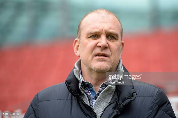 Manager Joerg Schmadtke of Koeln is pictured during the Bundesliga match between Hannover 96 and 1 FC Koeln at HDIArena on March 12 2016 in Hanover...