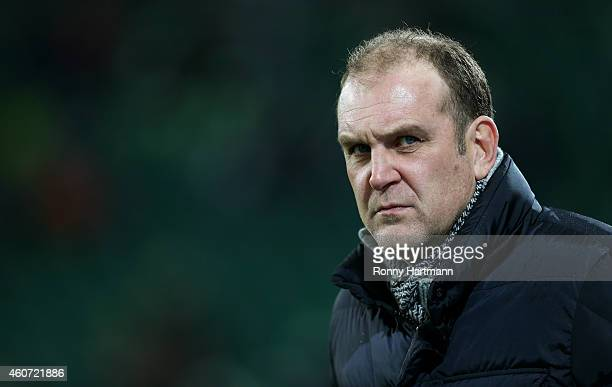 Manager Joerg Schmadtke of Koeln looks on prior to the Bundesliga match between VfL Wolfsburg and 1 FC Koeln at Volkswagen Arena on December 20 2014...