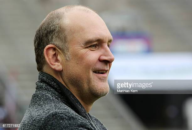 Manager Joerg Schmadtke of Koeln looks on prior to the Bundesliga match between Hertha BSC and 1 FC Koeln at Olympiastadion on October 22 2016 in...